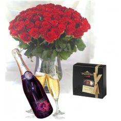 Pack cadeau, bouquet, champagne chocolats