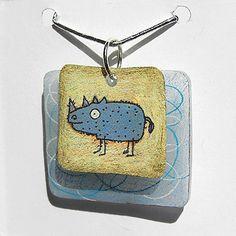 The Craft Junkie: Rhinocerous Charm Card Shrink Art plastic