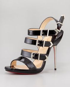 Christian Louboutin Funky Multi Buckle Patent Red Sole Sandal