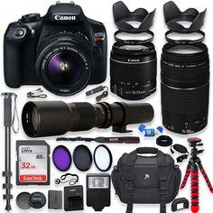 Canon EOS Rebel Dslr Camera with is II Lens Bundle + Tamron Di LD Macro AF Lens & Preset Lens + Memory + Filters + Monopod + Spider Tripod + Professional Bundle Canon Dslr, Nikon, Canon Ef, Canon Cameras, Best Dslr, Best Camera, Perfect Camera, Canon Lenses For Portraits, Lente Canon