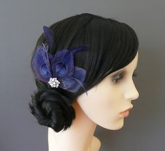 Navy Blue Peacock Feather Hair Clip Fascinator Bridesmaids Wedding 'Lizbeth'