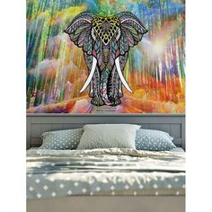 Wall Hanging Home Decor Elephant Print Tapestry - W59 Inch * L59 Inch Mobile