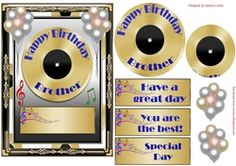 ** NEW TODAY ** GREAT COLLECTION OF MUSIC THEMED BIRTHDAY TOPPERS