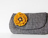 Emma Clutch in Gray & Mustard. Adorable and for a good cause
