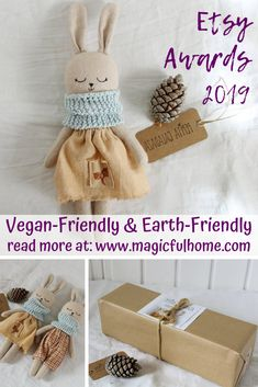 Etsy Design Awards My Vegan Favourites - organic bunny doll Mothers Day Gifts From Daughter, Unique Mothers Day Gifts, Mother In Law Gifts, Father Birthday Gifts, Birthday Gifts For Best Friend, Mother's Day Gift Card, Baby On A Budget, Vegan Shopping, Vegan Blogs