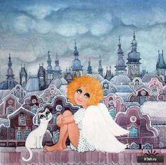 Солнечная, жизнерадостная, добрая наивная живопись..... художница Zuzana Honsovа