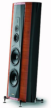 Sonus Faber Stradivari. A three-way design in a unique elliptical enclosure featuring 2pi radiation and a symbiotic tuning system. Each driver is loaded into a tunable cavity, open in the case of the midrange and low frequency drive units, sealed for the high frequency unit. The crossover employed has been developed not only for purity of transition but specifically for enhancing the performance of the amplifier/loudspeaker interface. USD 45,000.