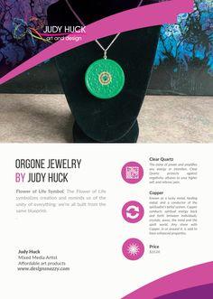 Orgone jewelry by Judy Huck Flower Of Life Symbol, Affordable Art, Clear Quartz, Framed Art Prints, Jewelry, Design, Jewlery, Jewerly, Schmuck