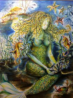Mermaid with Friends  Watercolor on Paper by CSGibbs