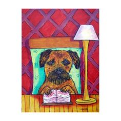 Border Terrier Reading a Book Dog Art Print by lulunjay on Etsy, $17.99