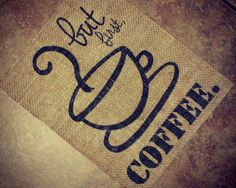 Burlap Coffee Sign Rustic Kitchen Decoration by chathamplace, $14.99