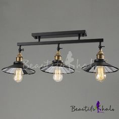 Industrial Style 3 Light Island Semi Flush Light - Beautifulhalo.com