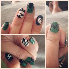 Halloween nail art. diy. Frankensteins, ghost, mummy and maleficent