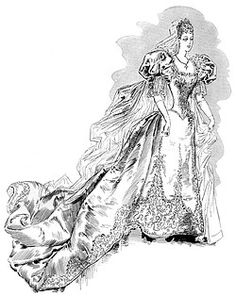 A sketch showing the profusely embroidered wedding dress worn by Princess Victoria Melita for her marriage to Grand Duke Ernst Ludwig of Hesse on 19th April 1894 at Coburg. Princess Victoria Melita was daughter of Alfred, Duke of Edinburgh and a granddaughter of Queen Victoria as well as of Tsar Nicholas II of Russia. Her marriage to her paternal first cousin Ernst Ludwig, ended in divorce in 1901./yooniqimages.com