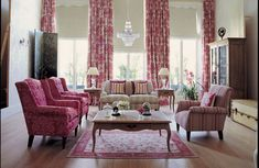 Bright And Colorful Living Room: For the big living room in warm shades floral designs.