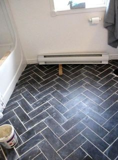 DIY Herringbone Floor Using Peel n' Stick Luxury Vinyl Tile! For bathroom floor Luxury Vinyl Tile Flooring, Vinyl Tiles, Vinyl Flooring Bathroom, Diy Flooring, Linoleum Flooring, Flooring Options, Cheap Flooring Ideas Diy, Cheap Remodeling Ideas, Ideas