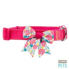 Martha Stewart Pets™ Solid Pink Collar w/Sea Floral Bow - Sale - Dog - PetSmart