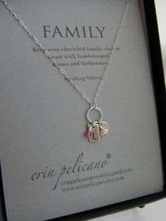 Family Necklace Initial Necklace Charm Necklace // Sterling Silver and birthstones.