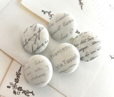Fabric Buttons Fridge Magnets Words Buttons Covered by RetroNaNa, $5.50 Covered Buttons, Script, Magnets, Words, Fabric, Tejido, Script Typeface, Tela, Fabrics