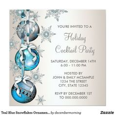 Teal Blue Snowflakes Ornaments Christmas Party