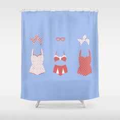 Retro Bathing Suits- Light Blue Shower Curtain by The Ophelia. Worldwide shipping available at Society6.com. Just one of millions of high quality products available.