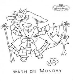 Little Girl Days of the Week Embroidery Transfer Patterns