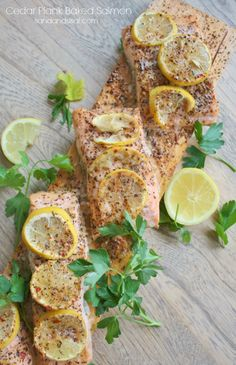 Cedar Plank Baked Salmon from at @Sand and Sisal
