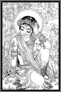 Radharani coloring in black and white illustration. too cute.