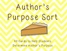 Use these cards as a fun, hands-on way for students to practice determining authors purpose. The cards can be used in several different ways. Teachers can pass out all 40 cards in their students and allow for a whole-group sort. Students may complete the activity in a small group or individual setting.