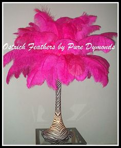 Hot Pink And White With Zebra Lighted Spandex Ostrich Feather Centerpiece