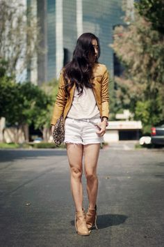 Summer Leather: tan leather jacket