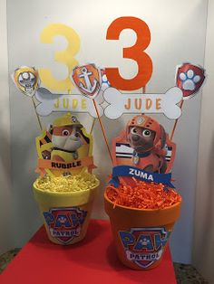 Here are the decorations I made for a Paw Patrol Birthday party... actually, Zombies invade Paw Patrol Adventure Bay! Super PAWSOME!! ... Third Birthday, 3rd Birthday Party For Boy, Puppy Birthday, Birthday Ideas, Fiesta Infantil Paw Patrol, Paw Patrol Theme Party, Paw Patrol Decorations, Puppy Party, Kids Party Themes