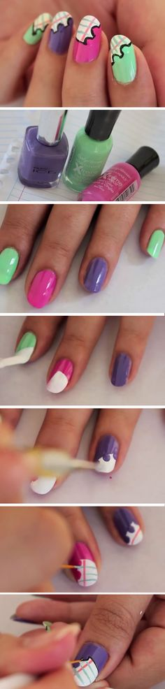 Notebook Clippings | DIY Back to School Nails for Kids | Awesome Nail Art Ideas for Fall