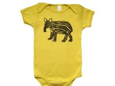 Baby Tapir Organic Onesie Mustard Yellow by sevengill on Etsy, $17.00