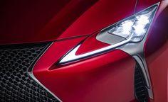 Automotive design, Automotive lighting, Event, Automotive exterior, Red, Car, Grille, Hood, Logo, Light, New Lexus Suv, Lexus Coupe, Lexus Lc, Detroit Auto Show, Gt Cars, Car Finance, Car And Driver, Car Lights, Automotive Design