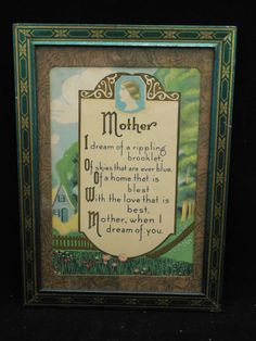 """Vintage Framed Buzza """"Style"""" Motto - MOTHER - Tin Frame #Vintage Mother Poems, Mother Art, Vintage Pictures, Pretty Pictures, Vintage Frames, Vintage Prints, Best Motto, Mother Dearest, When I Dream"""