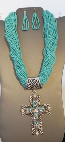 Cowgirl Bling CROSS Christian Rhinestones Southwest Turquoise bead necklace set BAHA RANCH WESTERN WEAR EBAY SELLER ID SOLOEDITION