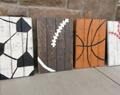 Set of FOUR vintage wood sports signs by BlessHerHeartDesigns