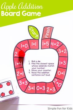 Have fun while practicing addition with a simple die game: Cute printable no prep Apple Addition Board Game for kindergarteners and first graders! (Optional apple dice templates included.) Apple Activities, Autumn Activities For Kids, Printable Activities For Kids, Kids Learning Activities, Hands On Learning, Infant Activities, Kindergarten Activities, Number Activities, Teaching Kids