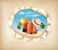 Tropical Island with Palms and a Beach Chair