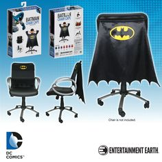 Be the hero your office deserves by transforming your chair with the Batman Classic Chair Cape™ - Convention Exclusive, the first patented product from Entertainment Earth. Made of high quality fabric