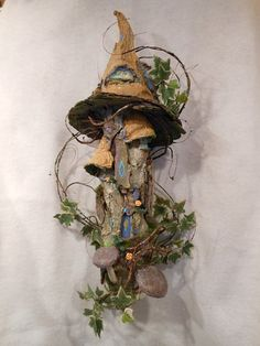 Fairy Garden Fairies House Wall Hanging Tower by NewberryThicket