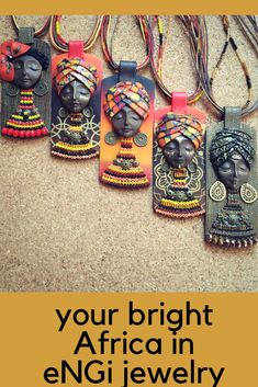 Bright polymer clay jewelry by eNGiJewelry. African Jewelry, Ethnic Jewelry, Boho Jewelry, Jewelry Shop, Pendant Jewelry, Jewelry Crafts, Fashion Jewelry, Unique Jewelry, Plastic Jewellery