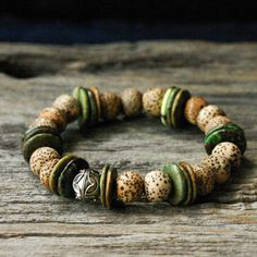Natural Turquoise Rustic Bracelet / Bali Sterling Silver Coconut Wood / Bohemian Ethnic Tribal Safari Woodland Forest Nature Inspired on Etsy, $80.00