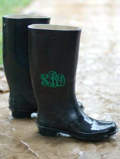 monogrammed rainboots with the silhouette cameo