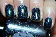 Nail Polish: Orion's Belt - Dark Blue Green Shimmer Polish with Gold Glitters