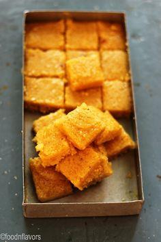 Coconut Mysore pak (coconut blondie bars)   foodnflavors