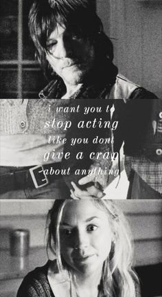 Bethyl, he stopped acting | Daryl Dixon and Beth Greene | The Walking Dead, twd quotes