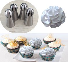 ussian Nozzles Ball Shaped Stainless Steel Pastry Tool Cake Decoration Ice Cream One-step Shaping #Affiliate