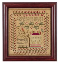 Rare Needlework Sampler, Parthenea, Tennessee, dated 1848 | lot | Sotheby's